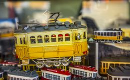 Toy souvenir trams in lisbon, portugal Royalty Free Stock Image