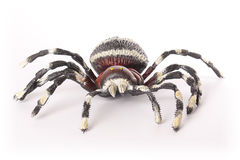Toy Spider. Large striped spider toy isolated on white background Royalty Free Stock Image