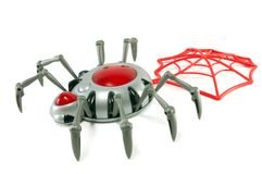 Toy a spider with a web Royalty Free Stock Photography