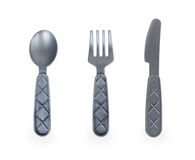 Toy spoon, fork and knife Stock Photos