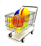 Toy Sports Balls in Cart Stock Images
