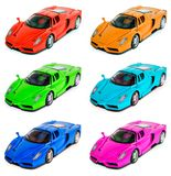 Toy Sports Car. Toy Sports Racing Car in 6 various colors royalty free stock image