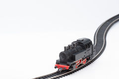 Toy steam locomotive. Pictured items of a toy railroad Stock Photo