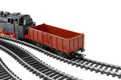 Toy Steam Train and freight wagon Stock Photography