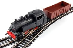 Toy Steam Train and freight wagon Royalty Free Stock Photography