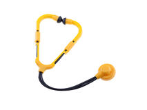 Toy Stethoscope Isolated. Toy Stethoscope, yellow and black, Isolated Royalty Free Stock Image