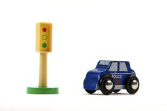 Toy Stop Light And Police Car Stock Photos