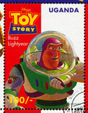 Toy Story. UGANDA - CIRCA 1997: stamp printed by Uganda, shows Toy Story, Buzz Lightyear, circa 1997 stock photography