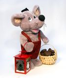 Toy Stuffed Rat or Mouse. Stuffed toy rat or mouse with holiday lantern and basket Royalty Free Stock Photos