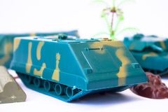 Toy Tank at the base Stock Image
