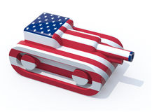 Toy tank colored with usa flag Stock Images