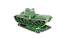 Toy Tank protect hard disk Stock Photos