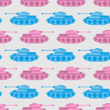 Toy Tank Seamless Pattern. Blue And Pink Military Toys. Vector O Royalty Free Stock Images