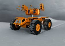 Toy tank in the snow. A children's toy tank in the snow with tread marks Stock Photos