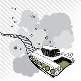 Toy tank with trace. Illustration Vector Toy tank with trace Stock Photo