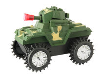 Toy tank. Toy war tank isolated on white background Stock Images