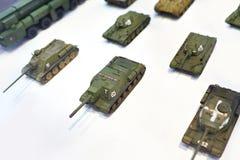 Toy tanks on white Stock Photos