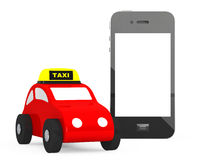 Toy Taxi Car avec le téléphone portable rendu 3d Photo stock