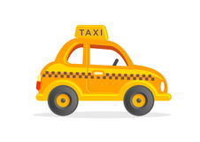 Toy Taxi Car. Cartoon Yellow Cab Vector Illustration. Funny Yellow Cab Vector Clipart for Kids Stock Photos