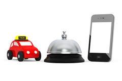 Toy Taxi Car con el teléfono móvil y el servicio Bell representación 3d Imagen de archivo libre de regalías