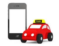Toy Taxi Car med mobiltelefonen framförande 3d Fotografering för Bildbyråer