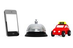 Toy Taxi Car med mobiltelefonen och tjänste- Klocka framförande 3d Arkivfoton