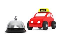 Toy Taxi Car med tjänste- Klocka framförande 3d Royaltyfri Bild