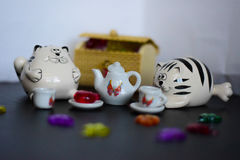 Toy tea party cats Stock Photography