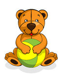 Toy teddy bear baby smiling, happy play with ball Stock Photo