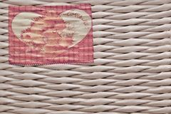 Toy teddy bear in basket on wooden table. retro filtered image.  royalty free stock image