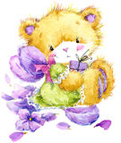 Toy Teddy bear and flower violet. watercolor illustration. Toy Teddy bear and flower violet. Toy background for celebration kids Birthday festival. watercolor Royalty Free Stock Image
