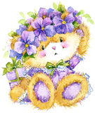 Toy Teddy bear and flower violet. watercolor illustration. Toy Teddy bear and flower violet. Toy background for celebration kids Birthday festival. watercolor Royalty Free Stock Photo