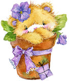 Toy Teddy bear and flower violet. watercolor illustration Stock Photo