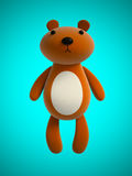 Toy teddy bear isolated on blue 3D rendering Stock Photo