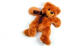 Toy teddy bear isolated. On white stock image