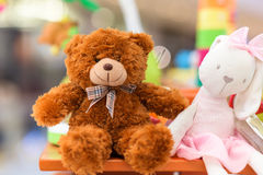 Toy teddy bear and rabbit doll Royalty Free Stock Image
