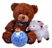 Toy teddy bear with sheep Royalty Free Stock Photography