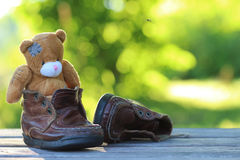 Toy teddy bear table outdoor Stock Photo