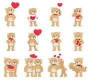 Toy Teddy Bears Couples mou avec des coeurs dans l'amour Photos libres de droits