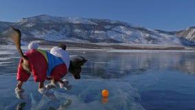Toy Terrier en ropa divertida y zapatos divertidos juega con la bola en el hielo hermoso en grietas Mamá e hija en deportes almacen de video