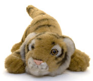 Toy tiger. New years signs of the zodiac golden tiger toy Stock Images