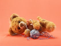 Toy tiger with a ball of threads Stock Image
