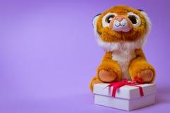 Toy Tiger zit op een witte giftdoos met een Rood Lint op een purpere achtergrond stock foto's