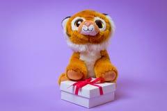 Toy Tiger zit op een witte giftdoos met een Rood Lint op een purpere achtergrond royalty-vrije stock afbeeldingen