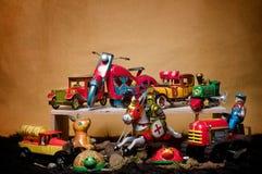 Toy Tin Robot Gathering 04 Royaltyfria Bilder