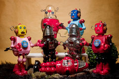 Toy Tin Robot Gathering 06 Stock Images