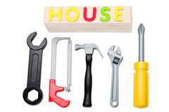 Toy tools and house sign Stock Images