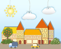Toy town. EPS10.  Cartoon vector illustration Royalty Free Stock Photography