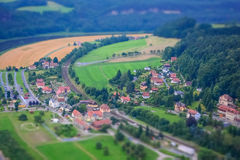 Toy Town, Miniature Effect. Miniature effect on Stadt Wehlen, Germany Stock Photography