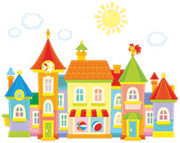 Toy town. Vector illustration of a toy town with colorful houses royalty free illustration